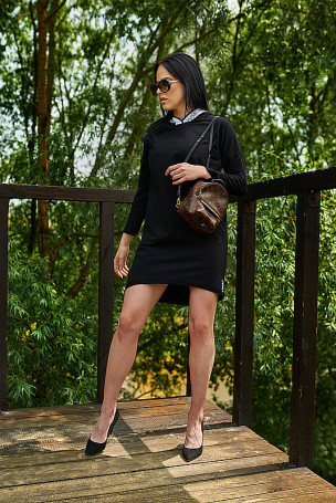 Sukienka kaptur - czarny