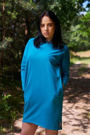 Sukienka kaptur - turkus
