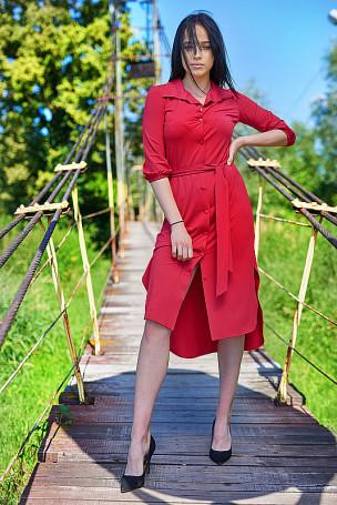 Sukienka pasek - czerwona