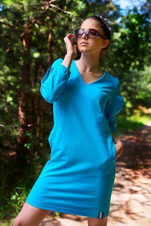 Sukienka dekolt - niebieska
